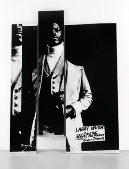 "Adam Pendleton, ""Larry Hinton (white),"" 2012. Silkscreen  ink on Formica, overall installation, variable dimensions, 304.8 cm x 61 cm, 4 panels, each unique. Courtesy the  artist and Galeria Pedro Cera, Lisbon. Courtesy Ljubljana Biennial"