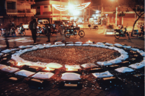 Installation at Tha Pae Gate, Chiang Mai as part of the second Week of Cooperative Suffering, Chiang Mai Social Installation, 1997. Artist(s) and title unknown. Courtesy Uthit Atimana and Gridthiya Gaweewong.